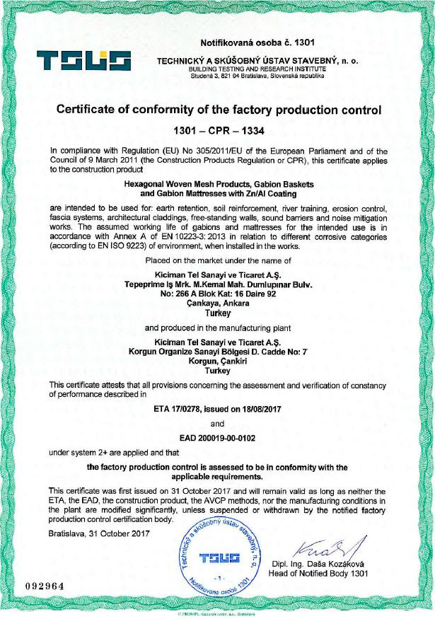 Certificates Pages, Kıcıman Tel Sanayi ve Ticaret A.Ş., Gabion ...